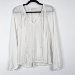 Ramy Brook V-Neck Peasant Blouse Top White Medium